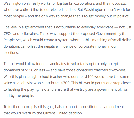 Ruben Gallego Campaign Finance Reform on Website pt 2